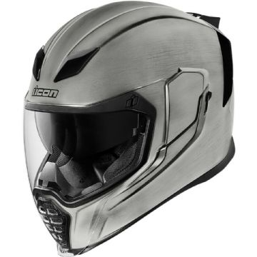 Icon Airflite Quick Silver Brushed Effect Full Face Motorcycle Motorbike Helmet